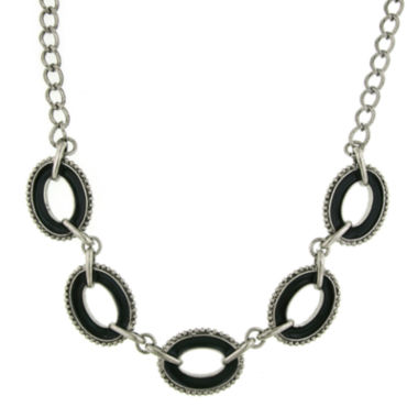 jcpenney.com | 1928® Jewelry Silver-Tone Black Enamel Oval Station Reversible Necklace