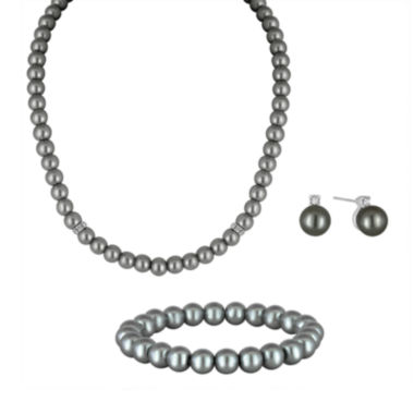 jcpenney.com | Vieste® Simulated Pearl Silver-Tone 3-pc. Jewelry Set