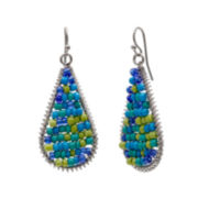 Mixit™ Silver-Tone Seed Bead Teardrop Earrings