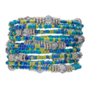 Mixit™ Silver-Tone Seed Bead Stretch Bracelet