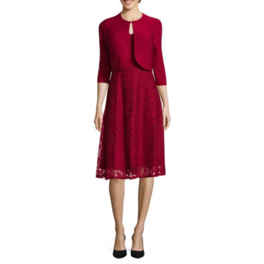 jcpenney.com | Danny & Nicole® 3/4-Sleeve Pintuck Lace Jacket Dress