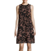 SL Fashions Leaf-Print Faux-Leather-Trim Chiffon Shift Dress