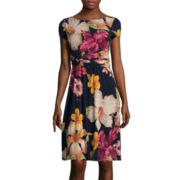 Perceptions Short-Sleeve Tropical Floral Print Side-Buckle A-Line Dress