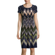 Perceptions Short-Sleeve Chevron Shift Dress