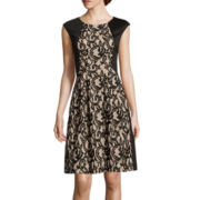 Danny & Nicole® Sleeveless Lace Inset Fit-and-Flare Dress