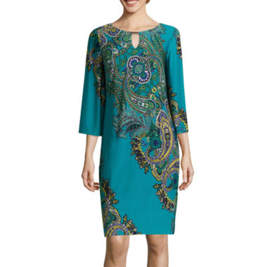 jcpenney.com | RN Studio by Ronni Nicole 3/4-Sleeve Paisley Bar-Neck Shift Dress