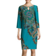 RN Studio by Ronni Nicole 3/4-Sleeve Paisley Bar-Neck Shift Dress