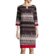 RN Studio by Ronni Nicole 3/4-Sleeve Chevron Bar-Neck Shift Dress