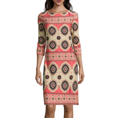 jcpenney.com | London Style Collection 3/4-Sleeve Printed Sheath Dress