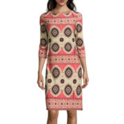 London Style Collection 3/4-Sleeve Printed Sheath Dress