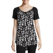 Worthington® Short-Sleeve Notch-Neck Top - Tall