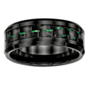 Mens Black Ceramic & Green Carbon Fiber Wedding Band