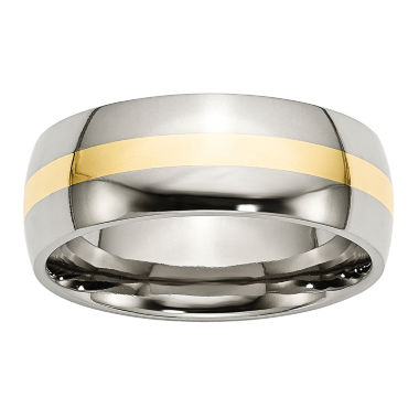 jcpenney.com | Mens 8Mm Stainless Steel & 14K Yellow Gold Inlay Wedding Band