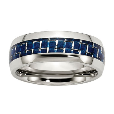 jcpenney.com | Mens 8mm Stainless Steel & Blue Carbon Fiber Inlay Wedding Band