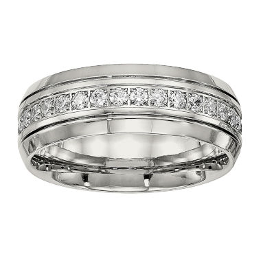 jcpenney.com | Mens Cubic Zirconia Stainless Steel Wedding Band
