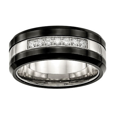 jcpenney.com | Mens Cubic Zirconia Stainless Steel & Black Ceramic Wedding Band