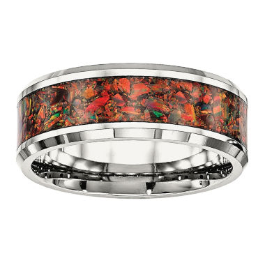 jcpenney.com | Mens Simulated Red Opal Stainless Steel Wedding Band