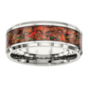 Mens Simulated Red Opal Stainless Steel Wedding Band