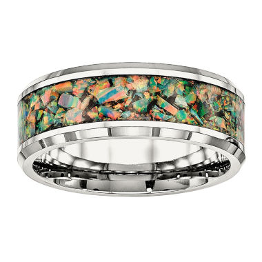 jcpenney.com | Mens Simulated Green Opal Stainless Steel Wedding Band