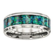 Mens Lab Created Blue Opal Stainless Steel Wedding Band