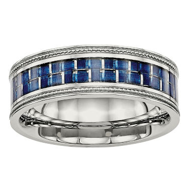 jcpenney.com | Mens 8mm Stainless Steel Blue Carbon Fiber Textured Wedding Band