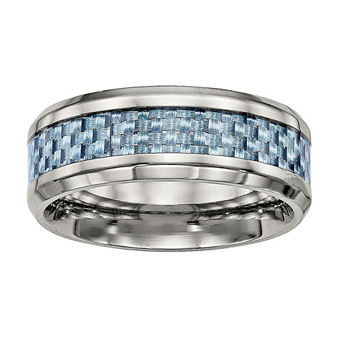 Mens Titanium & Blue Carbon Fiber Inlay Wedding Band