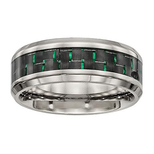Mens Titanium With Black & Green Carbon Fiber Inlay Wedding Band