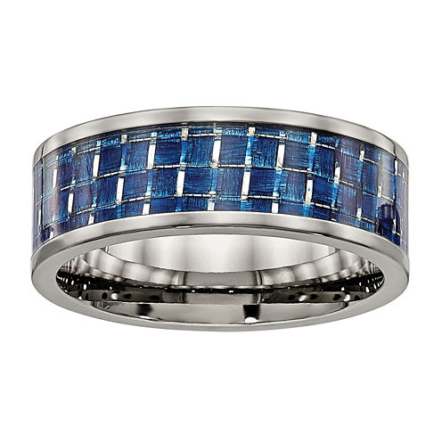 Mens Titanium & Blue Carbon Fiber Wedding Band