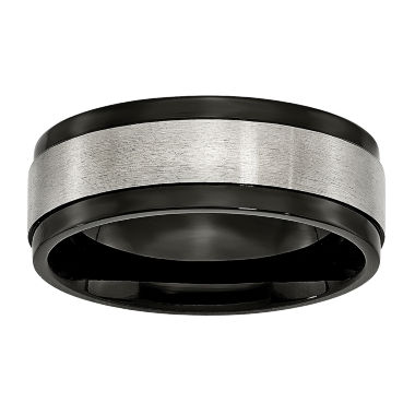 jcpenney.com | Mens 8mm Titanium & Black Ion-Plated Wedding Band