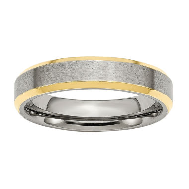 jcpenney.com | Personalized Mens 5mm Stainless Steel & Yellow Ion-Plated Wedding Band