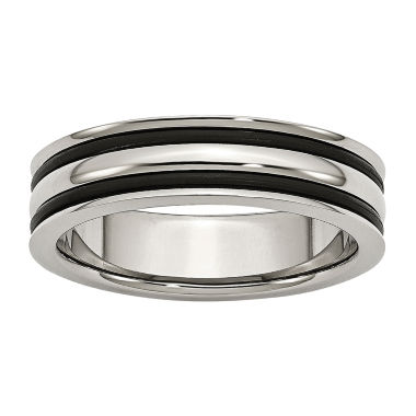 jcpenney.com | Personalized Mens 6mm Stainless Steel & Black Rubber Wedding Band