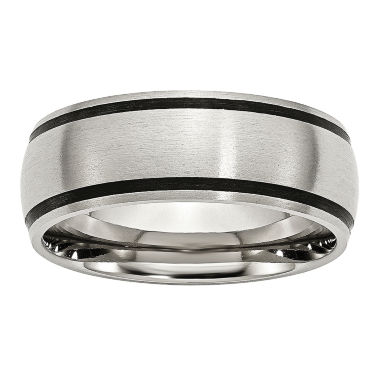 jcpenney.com | Personalized Mens 8mm Stainless Steel & Black Rubber Wedding Band