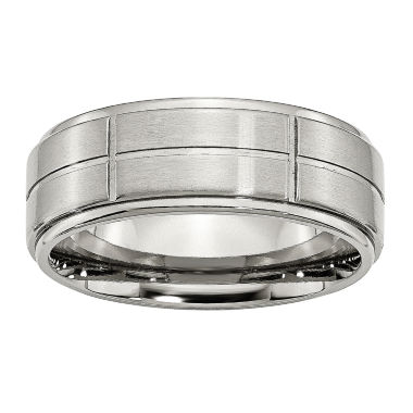 jcpenney.com | Personalized Mens 8mm Stainless Steel Wedding Band