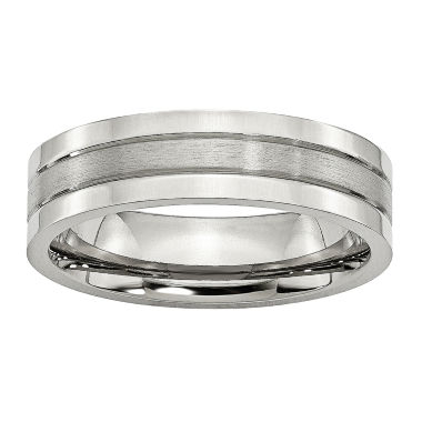 jcpenney.com | Personalized Mens 6mm Stainless Steel Wedding Band