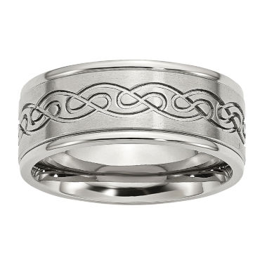 jcpenney.com | Personalized Mens 9mm Stainless Steel Wedding Band