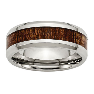 jcpenney.com | Personalized Mens 8mm Stainless Steel & Brown Wood Inlay Wedding Band