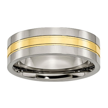 jcpenney.com | Personalized Mens 7mm Titanium Yellow Ion-Plated Wedding Band