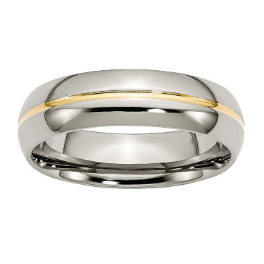 jcpenney.com | Personalized Mens 6mm Titanium Yellow Ion-Plated Wedding Band