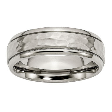 jcpenney.com | Personalized Mens 7mm Hammered Titanium Wedding Band