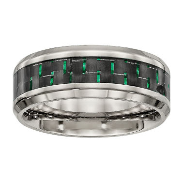 jcpenney.com | Personalized Mens 8mm Titanium Black & Green Carbon Fiber Inlay Wedding Band