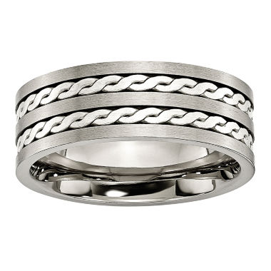 jcpenney.com | Personalized Mens 8mm Titanium & Sterling Silver Braided Inlay Wedding Band