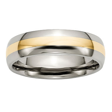 jcpenney.com | Personalized Mens 6mm Titanium & 14K Yellow Inlay Wedding Band