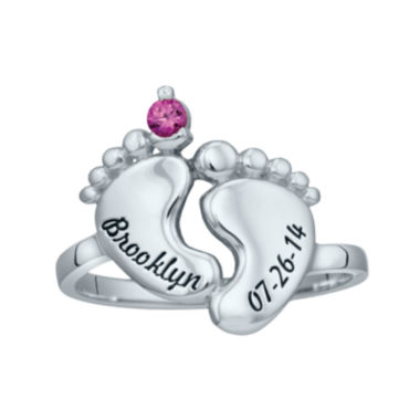 jcpenney.com | Personalized Simulated Birthstone Engraved Baby Feet Ring