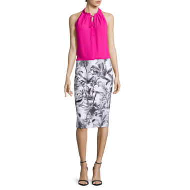 jcpenney.com | Worthington® Button-Down Halter Top or Contrast Waistband Pencil Skirt