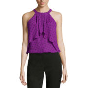 Worthington® Sleeveless Ruffled Halter Blouse