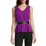 Worthington® Belted Peplum Shirt - Tall
