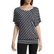 Alyx® Short-Sleeve Stripe Banded Bottom Top