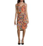 Liz Claiborne® Sleeveless V-Neck Button-Front Dress