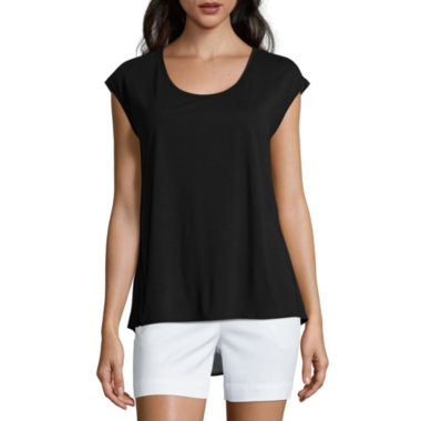 jcpenney.com | Liz Claiborne® Extended-Shoulder Butterfly Tee