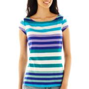 Liz Claiborne Short-Sleeve Striped Boatneck Tee